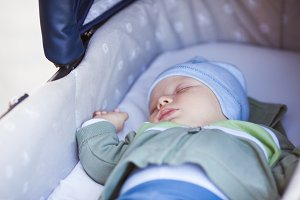Close view of baby sleeping in a