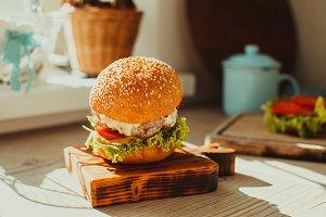 Tasty homemade burger served on a
