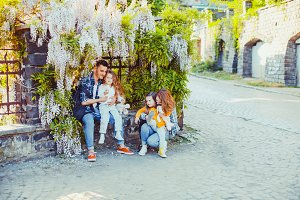 Wisteria flower with young family