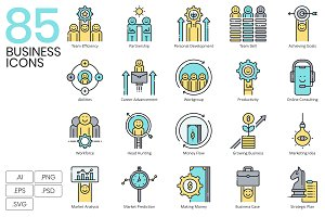 85 Business Icons | Aqua