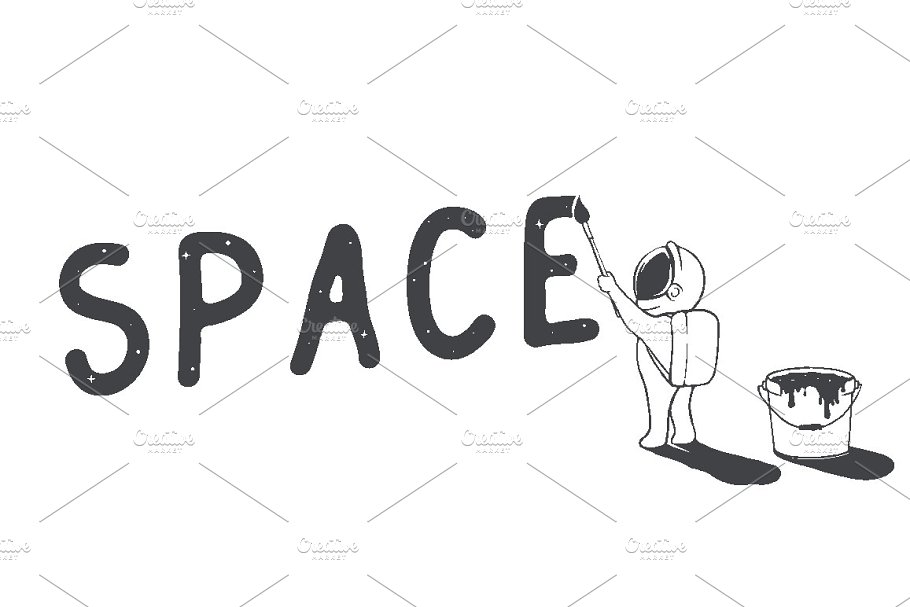 astronaut writes the word space