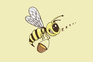 Cute bee collects a honey