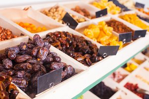 Dried fruits in wooden containers on