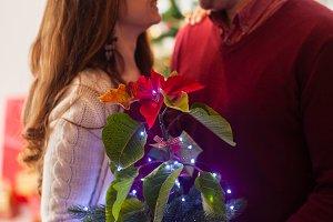 Loving couple with illuminated
