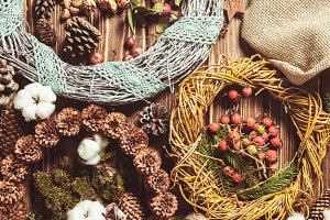 Nature wreath making flat lay on the
