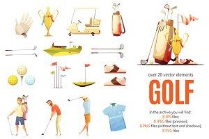 Golf Cartoon Set