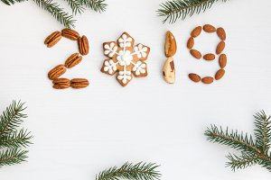 Happy new year 2019 made of nuts and