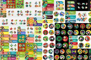 Flat infographic templates mega set