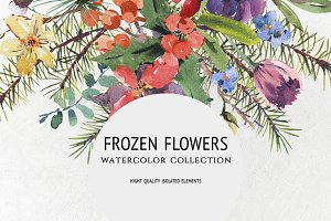 Frozen Flowers, watercolor