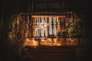 Balcony decorated with lights