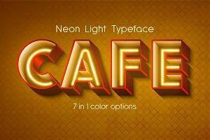 Vector neon light 3d alphabet