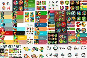 Trendy flat infographic designs set