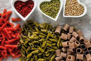 multicolor gluten-free pasta with in