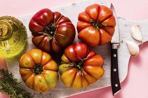brandywine tomato on a cutting board