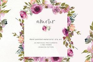 Watercolor Burgundy Flowers & Frames