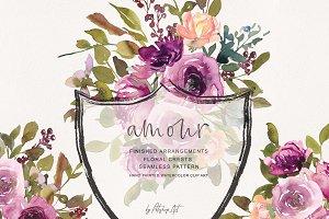 Watercolor Burgundy Florals & Crests