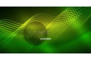 Abstract shiny glowinng color wave