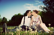 Couple in love in the summer park