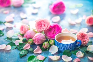Rose tea photography with ceramic