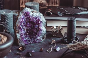 Amethyst Druze on a witch's altar