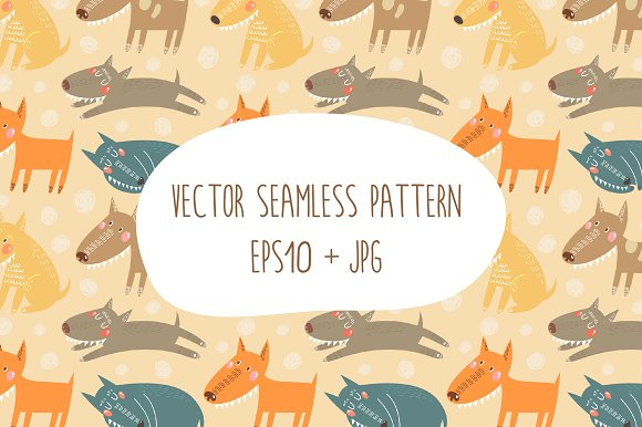 Vector background with cute dogs