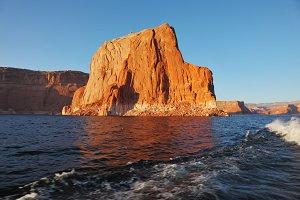 Sunset illuminate the rocks on the s