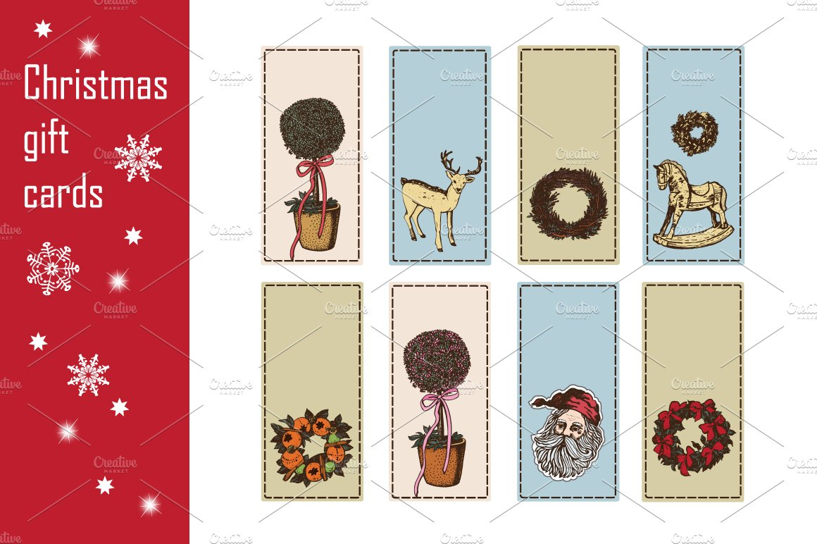 Christmas gift cards ~ Illustrations ~ Creative Market