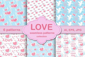 Love seamless patterns collection