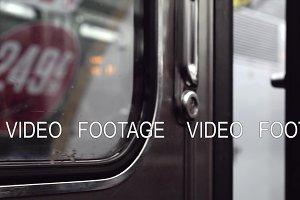 Closing doors in subway train and