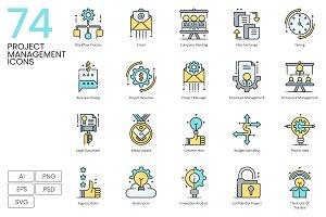 74 Project Management Icons | Aqua
