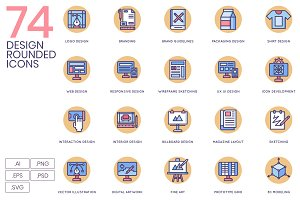 74 Creative Design Icons - Rounded
