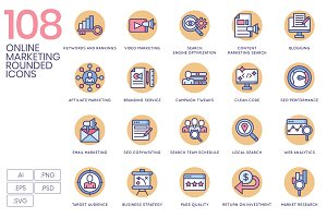 108 Online Marketing Rounded Icons