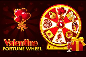 Cartoon St. Valentine lucky roulette