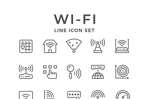 Set line icons of Wi-Fi