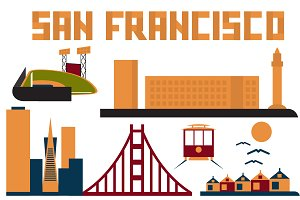 landmarks of San Francisco flat desi