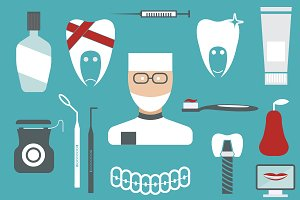 flat design collection of dentistry