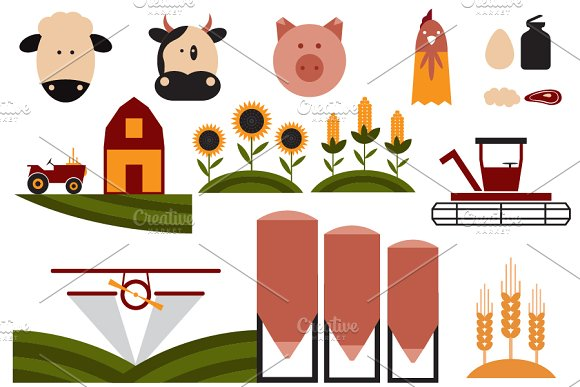 flat design icons of agriculture in Graphics