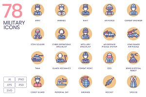 78 Military Icons - Rounded
