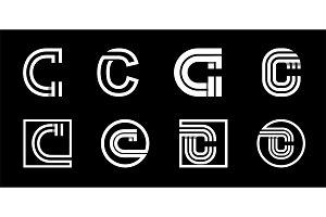 Letter C. Modern set for monograms,