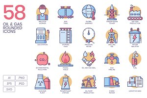 58 Oil & Gas Icons - Rounded