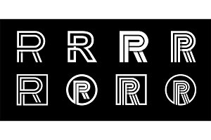 Letter R. Modern set for monograms,