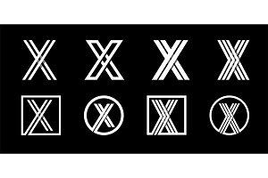Letter X. Modern set for monograms,