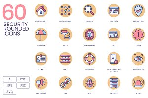 60 Security Icons - Rounded