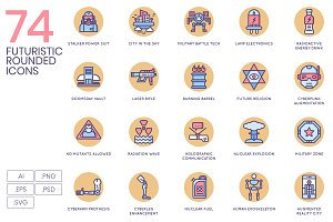 74 Futuristic Icons - Rounded