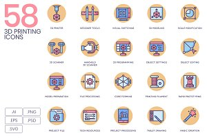 58 3D Printing Icons - Rounded