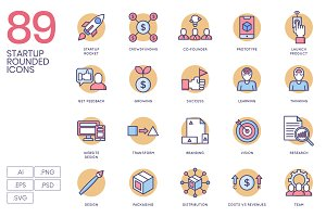 89 Startup Icons - Rounded
