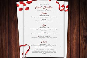 Valentines Day Menu Flyer