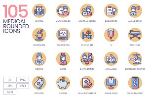 105 Health & Medical Icons - Rounded
