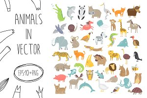 Cute animals collection in vector