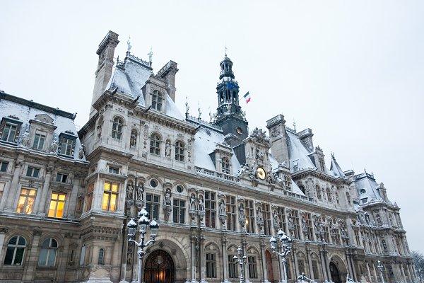 Architecture Stock Photos: Elena Dijour Photography - Paris. Hotel de Ville in Snow.